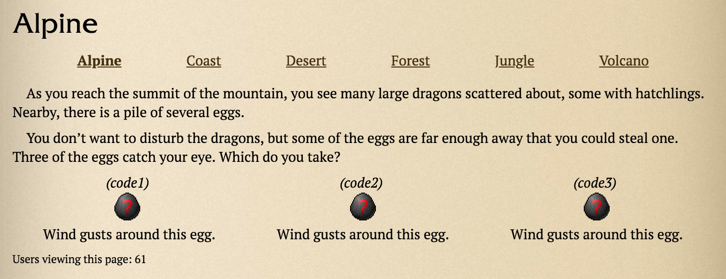 Show code above egg in biomes - Suggestions/Requests