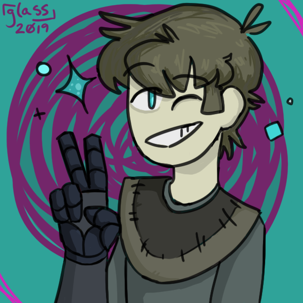 [ full-color icon of alex asboth from DashBored; the background is cyan and purple. he is wearing a gray shirt and a two-tone brown poncho. he has brown hair, cyan eyes, and is wearing gloves. he's winking at the viewer with a big smile; there are blue sparkles around him. ]