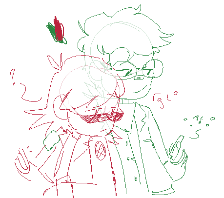 [ a two-color sketch (red and green) of two people sitting together. the green one has curly hair and round glasses, as well as a bandana around his neck. he's playing music from his phone. the red figure has long hair that swoops out, and he's wearing crescent-shaped sunglasses, curiously looking at what's coming from the other one's phone. ]