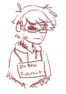 [ single-color (dark red) sketch of alic, a man with messy hair and glasses. one eye is a cross-pupil and the other appears to be empty. he has a hoodie poncho with fuzz on the inside, and he is wearing a sign that says 'do not interact'. he is looking away (to the right). ]