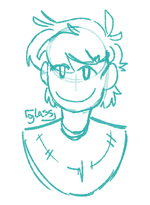 [ single-color (cyan) shoulder-up sketch of alex asboth from DashBored; he is looking at the viewer with a smile. his hair is very fluffy, and his poncho is a simple crescent shape. ]