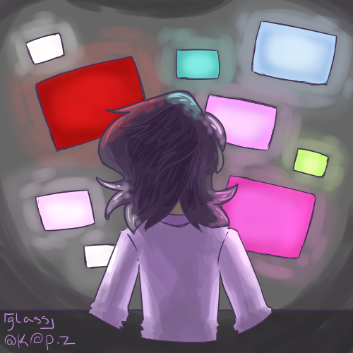 [ a square icon of a black-haired, purple-shirted figure sitting in front of multiple, multi-colored screens. ]