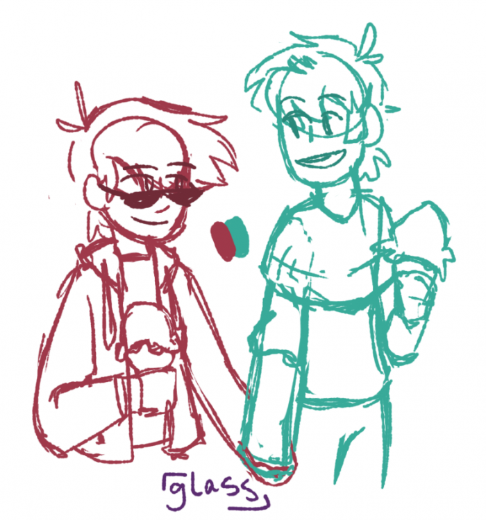 [ a two-colored sketch (red and cyan) of nic and alex from DashBored holding hands and having ice cream. alex is looking at nic, smiling and talking. nic is looking back at him with a smile. ]