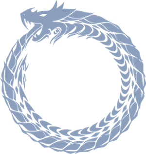 [Rough symbol of a dragon biting its tail to form a circle.]