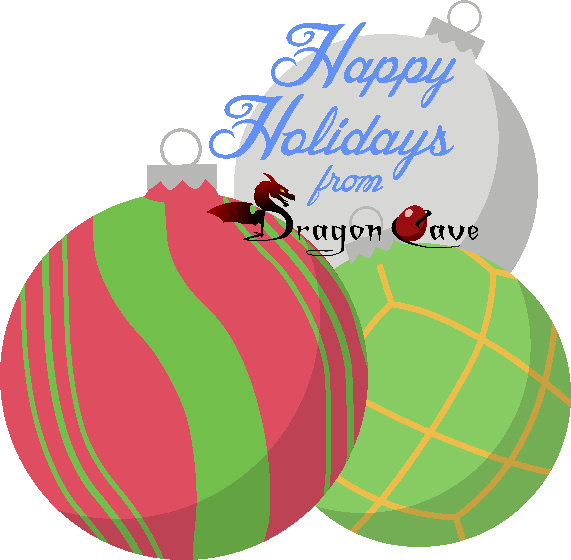 "Stylized text reads ""Happy Holidays from Dragon Cave."" Pixel art ornaments fill the rest of the image, including a red ball with green swirls, a green ball with gold lattice, and a plain silver ball."